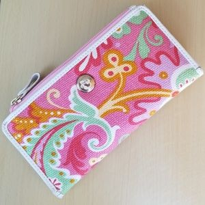 Spartina linen and leather wallet